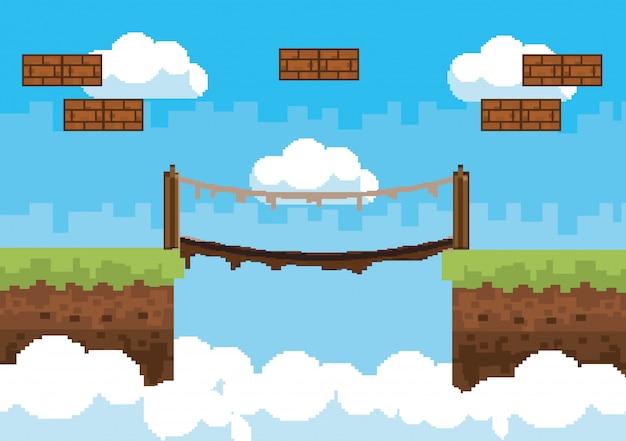 Arcade game world and pixel scene