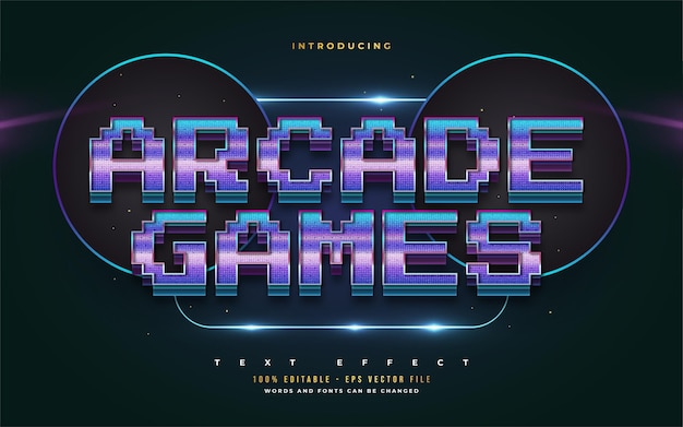Arcade games text style in colorful gradient with embossed effect. editable text style effect
