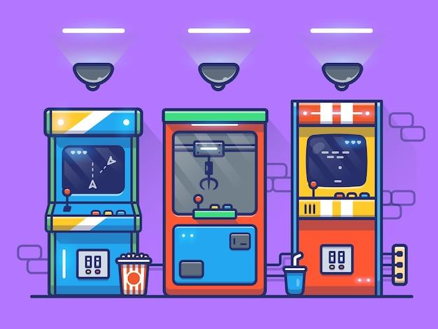 アーケードマシン漫画アイコンイラスト。分離されたゲーム技術アイコンコンセプト。フラット漫画のスタイル
