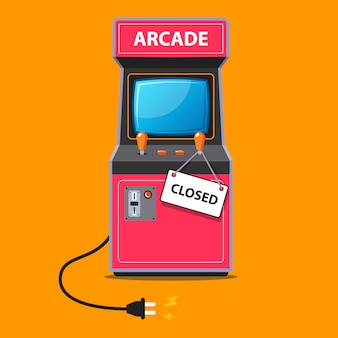 The arcade machine stopped working and a sign was closed on it