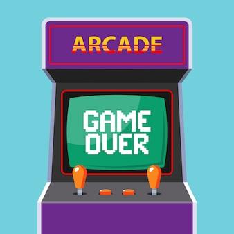 Аркадная машина с зеленым монитором с игрой слов окончена. плоская векторная иллюстрация