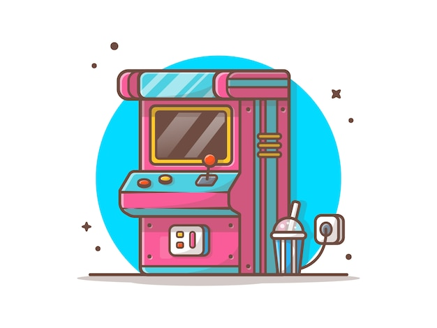Arcade machine with soda  icon illustration