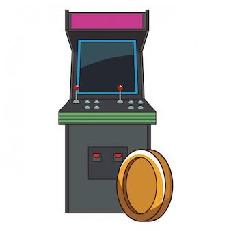 Arcade retro console and coin