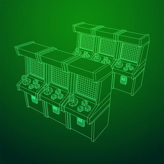 アーケードレトロゲーム機。ワイヤーフレーム低ポリメッシュベクトルイラスト。