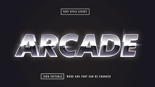 Arcade retro silver editable text