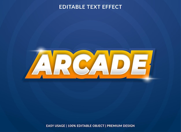 Arcade text effect template design with abstract style