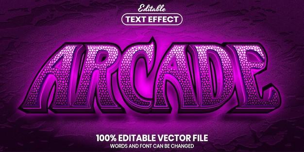 Arcade text, font style editable text effect