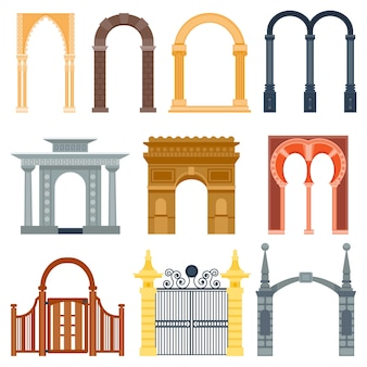 Arch design architecture construction frame classic, column structure gate door facade and gateway building ancient construction