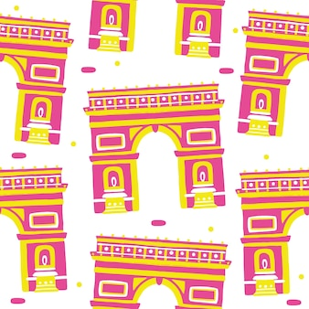Arch of triumph seamless pattern in flat design style