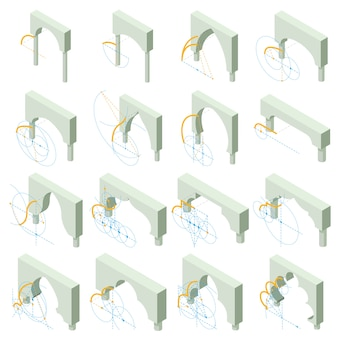 Arch types icons set. isometric illustration of 16 arch types vector icons for web