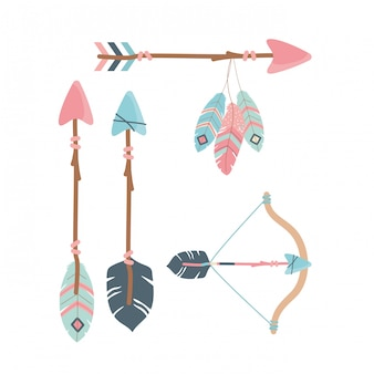 Arch with arrows and feathers decoration boho style