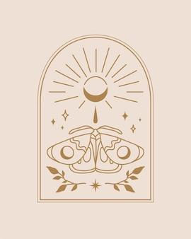 ライトベージュの背景イラストに自由奔放に生きるスタイルのデザインの蛾と月のイラストとアーチ