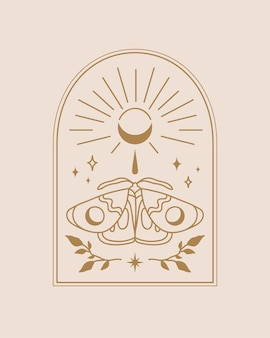 Arch with moth and moon illustration in boho style design on light beige background illustration