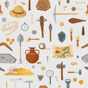 Archaeological ancient finds and tools seamless pattern. prehistoric research and antique finds ancient weapons and artifacts in burial mounds and crypts. vector old civilization.