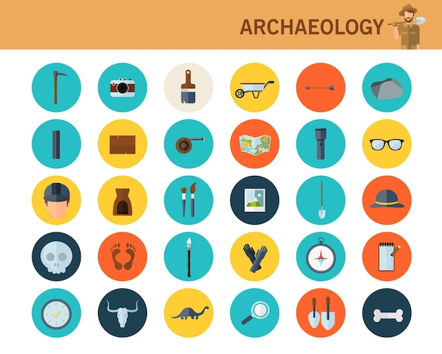 Archaeological concept flat icons.