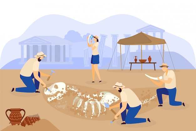 Archaeological excavation team discovers dinosaur skeleton, people  illustration