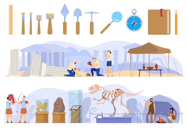 Archaeological excavations in antique ruins, history museum exhibition   illustration