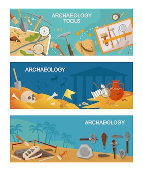 Archaeological excavations and tools horizontal banner. paleontological research and antique finds ancient weapons and artifacts in burial mounds and crypts. prehistoric civilization vector.