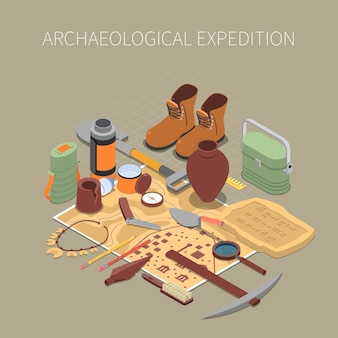 Концепция археологической экспедиции с древними останками и артефактами символами изометрии