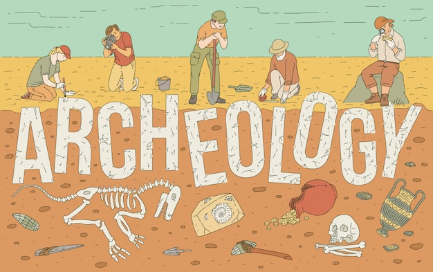 Archaeological exploration of historical artifacts illustration.