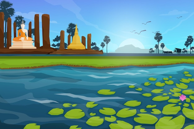 The archaeological site of buddhist in thailand near large lotus pond, birds on the sky. nature scene cartoon style illustration