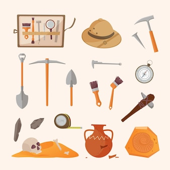 Archaeological tools and finds set. brushes instruments for excavating historical treasures sun hat tape measure for measuring territory ancient amphora and tools primitive people. vector artifacts.