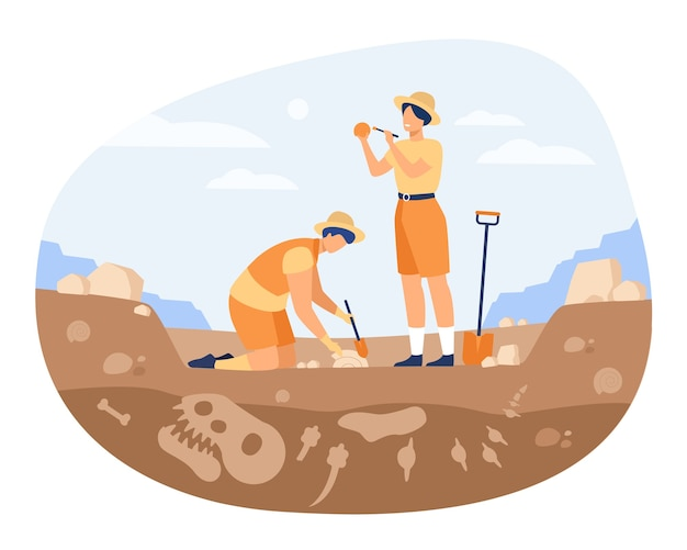 Archaeologist discovering dinosaurs remains. men digging ground in quarry and cleaning bones. vector illustration for archeology, paleontology, science, research