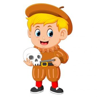 Archaeologist holding human skull