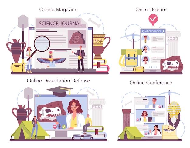 Archaeologist online service or platform set. ancient history scientist, paleontologist.