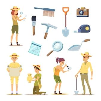 考古学者のキャラクターと様々な歴史的遺物