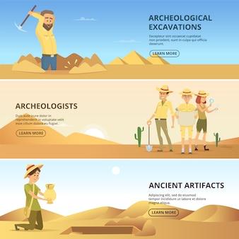 Археологи проводят раскопки исторических ценностей. горизонтальные баннеры. археолог и древние артефакты. векторная иллюстрация
