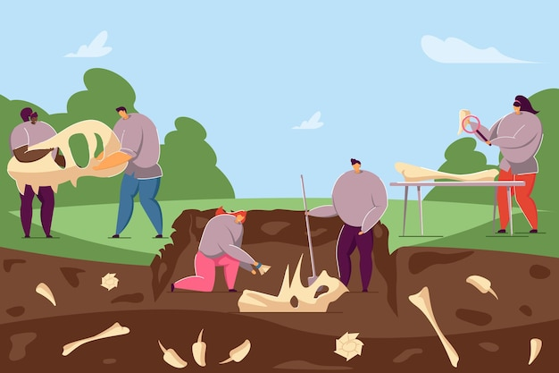 Archaeologists discovering ancient fossils in ground. flat vector illustration. cartoon people finding dinosaur bones and skeletons in soil layers. paleontology, history, dinosaur, science concept
