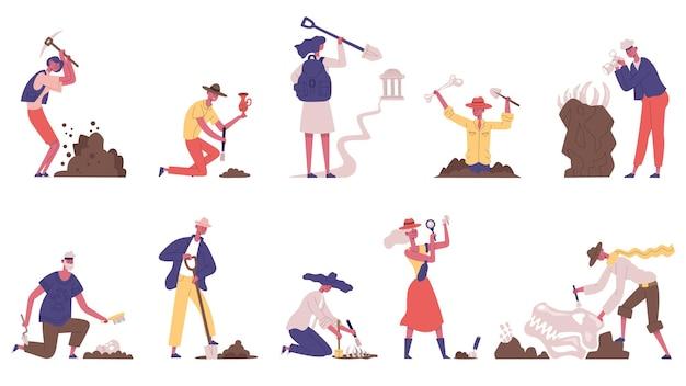 Археологи люди археологические раскопки исторических артефактов. набор векторных иллюстраций персонажей мужского и женского пола археологов. рабочий процесс археологии