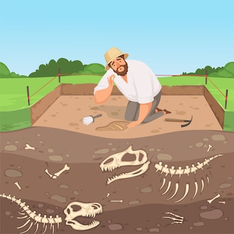Archaeology character. man discovery underground geology digging dinosaur bones in soil layers history landscape vector. illustration excavation archaeological, discovery archeology