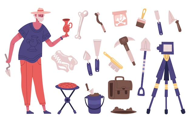 Archaeology explorer character with archaeology dig equipment and artifacts. male archaeologist at work vector illustration. archaeology excavation tools as shovel and brush for bones research