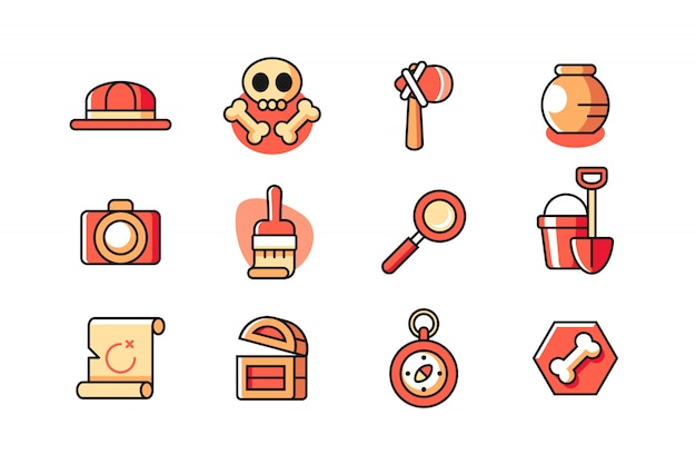 Archaeology icon set