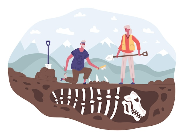 Archaeology scientists characters discovering, excavation, digging and researching. archaeologists discovered dinosaur skeleton fossil vector illustration