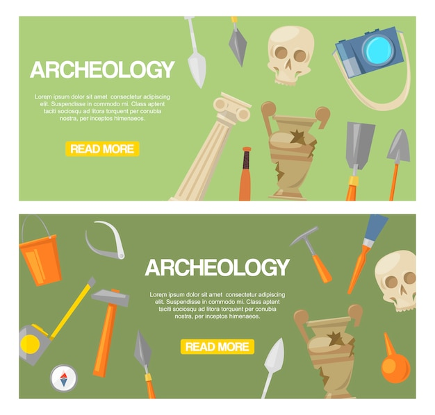 Archaeology set of banners vector. archaeological tools, ancient artifacts