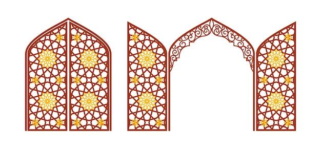 アラビアの装飾が施されたアーチ型の彫刻が施された門。クリッピングのレイアウト。ベクトルイラスト。