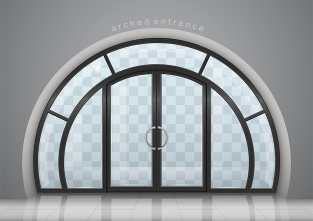 Arched door with window