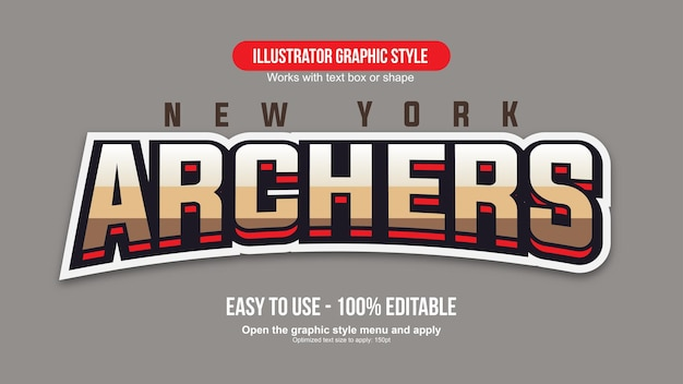 Arched golden and red sports text effect