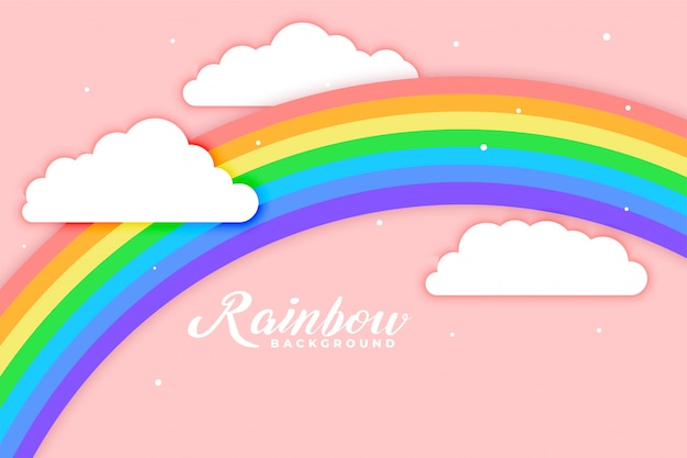 Arched rainbow with cloud pink background