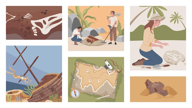 Archeological excavation vector flat illustrations men and women digging using