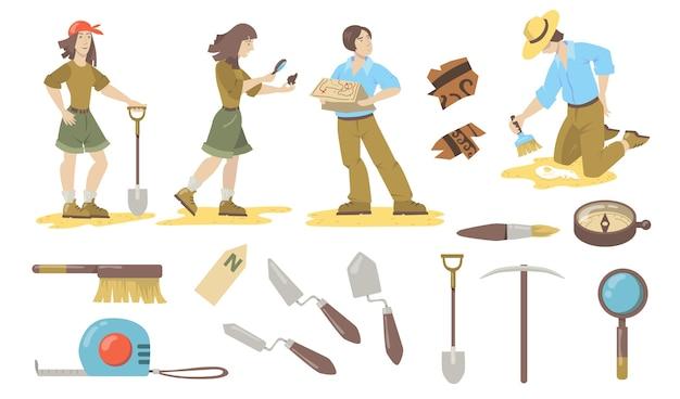 Набор археологических инструментов. археолог и палеонтолог используют лопаты, мастерки, кисти, компас для поиска исторических артефактов. векторные иллюстрации для археологии, геологии, открытия.