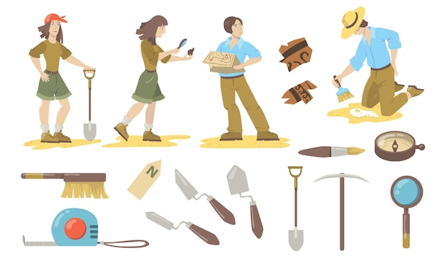 Archeological tools set. archeologist and paleontologist using shovels, trowels, brushes, compass for finding historical artifacts. vector illustrations for archeology, geology, discovery.