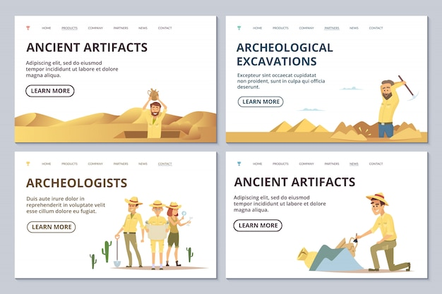 Archeologists landing page templates. cartoon archaeologists explore antiquities illustration