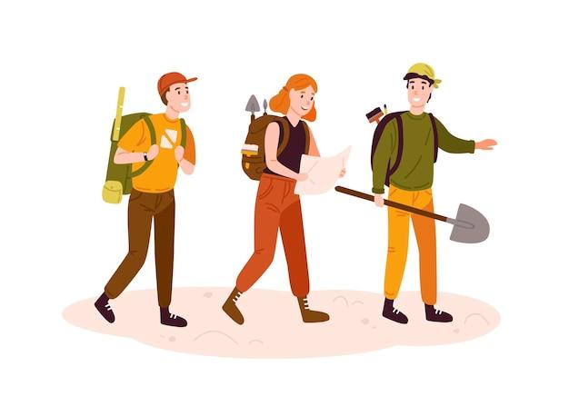 고고학자 팀, 연구원 그룹 평면 벡터 일러스트 레이 션. 지도 만화 캐릭터를 읽는 고고학 장비를 가진 흥분된 남녀. 유물을 찾는 보물 사냥꾼.