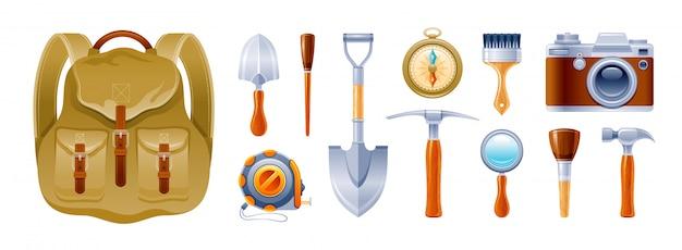 Археология и геология старинное оборудование, набор иконок инструментов экспедиции.