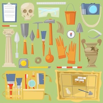 考古学考古学の発見とツールまたは機器と考古学者のイラスト考古学セットによって発見された古代史の要素の背景に分離