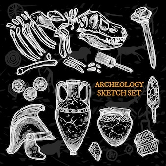 Archeology chalkboard sketch set